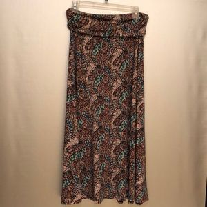 Lapis maxi skirt M paisley teal maroon pink